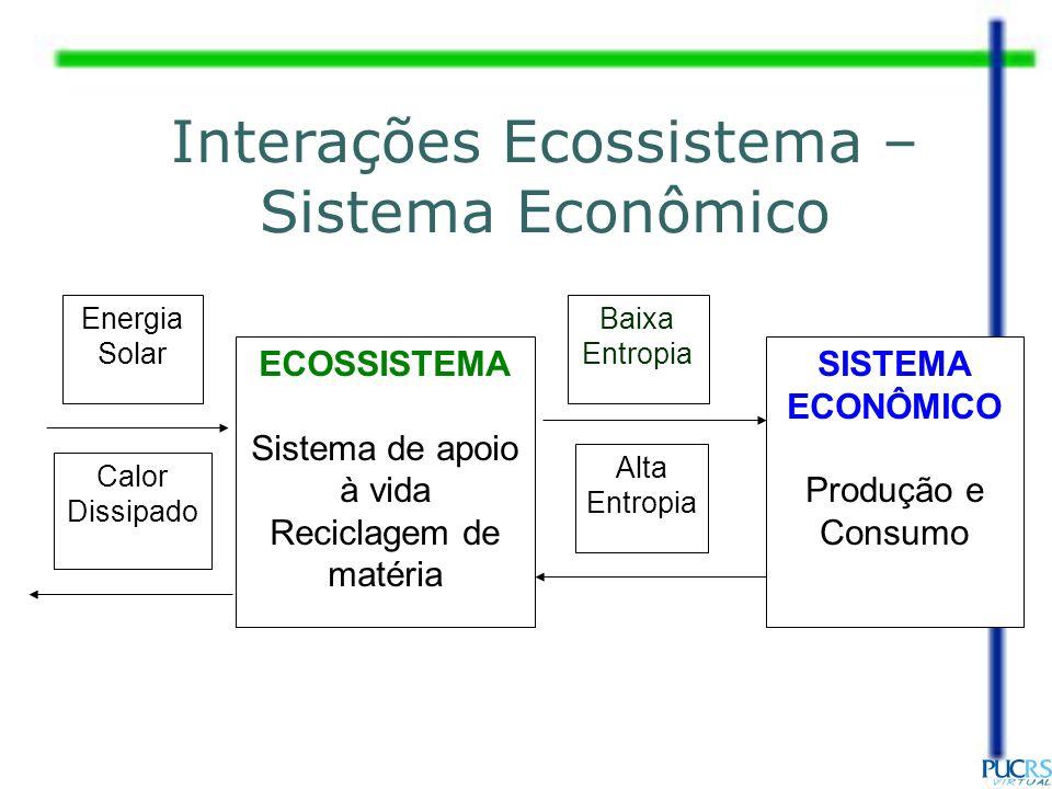 ECOSSISTEMA Sistema de apoio à vida Reciclagem de matéria SISTEMA ECONÔMICO Produção e Consumo Baixa Entropia Alta Entropia Interações Ecossistema – S