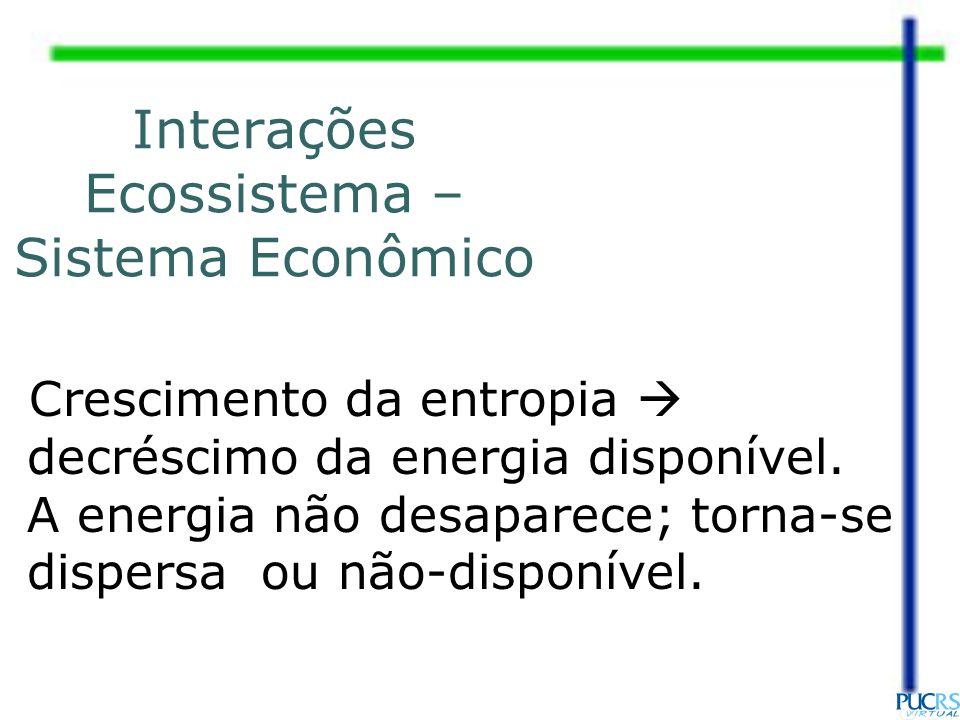 Interações Ecossistema – Sistema Econômico Crescimento da entropia decréscimo da energia disponível. A energia não desaparece; torna-se dispersa ou nã