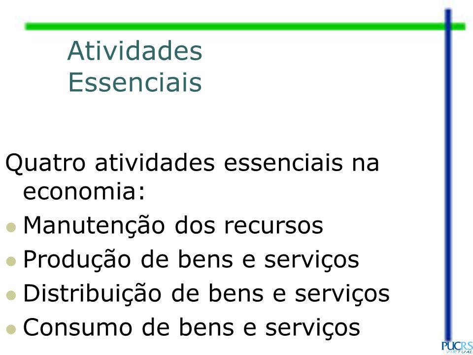 Atividades Essenciais Quatro atividades essenciais na economia: Manutenção dos recursos Produção de bens e serviços Distribuição de bens e serviços Co