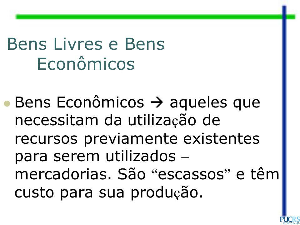 Bens Livres e Bens Econômicos Bens Econômicos aqueles que necessitam da utiliza ç ão de recursos previamente existentes para serem utilizados – mercad