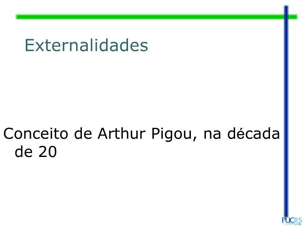 Externalidades Conceito de Arthur Pigou, na d é cada de 20