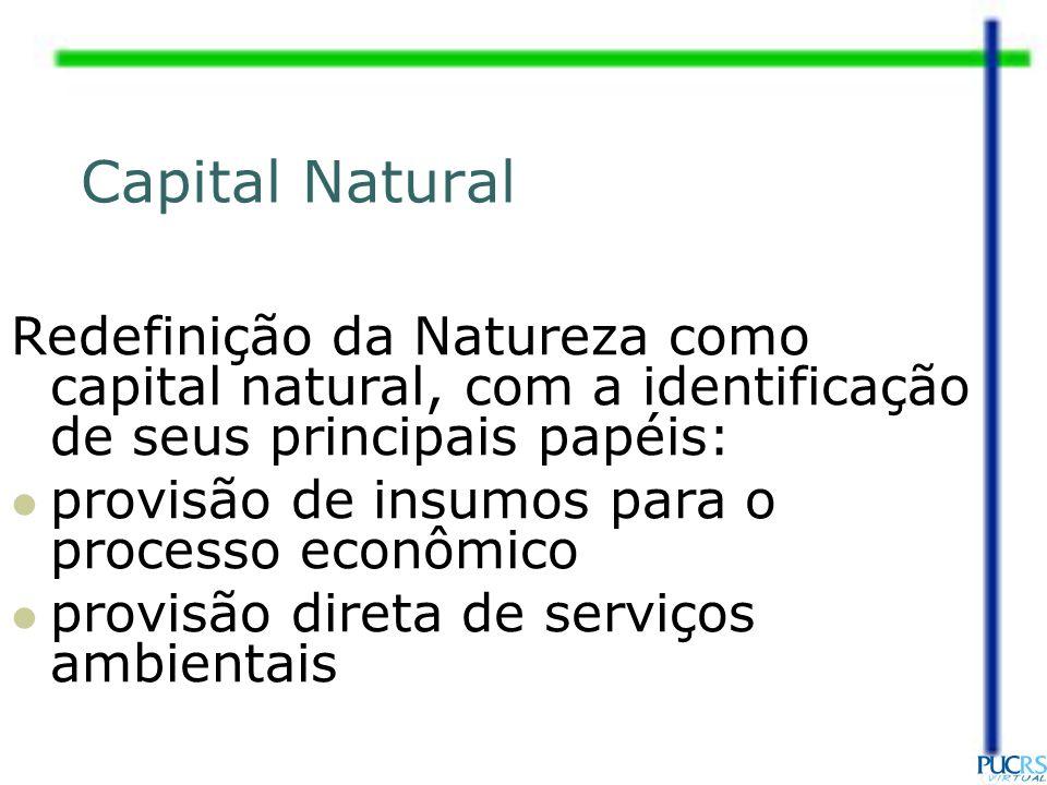 Capital Natural Redefinição da Natureza como capital natural, com a identificação de seus principais papéis: provisão de insumos para o processo econô