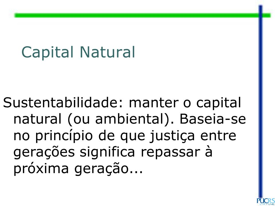 Capital Natural Sustentabilidade: manter o capital natural (ou ambiental).
