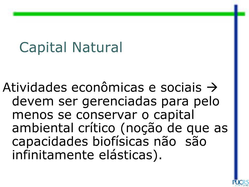 Atividades econômicas e sociais devem ser gerenciadas para pelo menos se conservar o capital ambiental crítico (noção de que as capacidades biofísicas