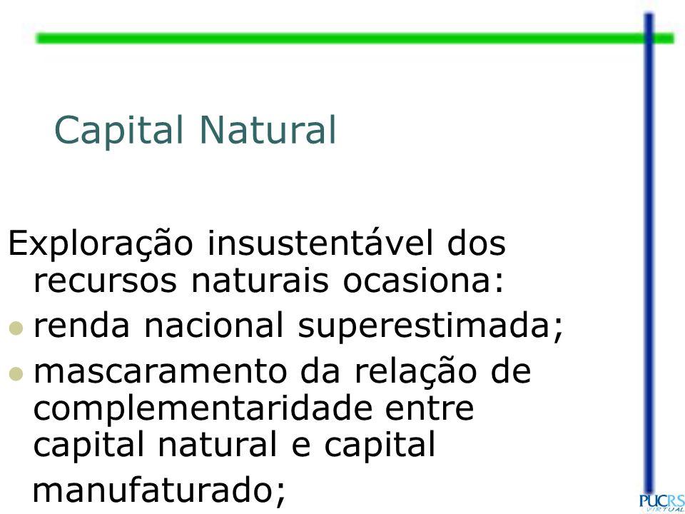 Exploração insustentável dos recursos naturais ocasiona: renda nacional superestimada; mascaramento da relação de complementaridade entre capital natu