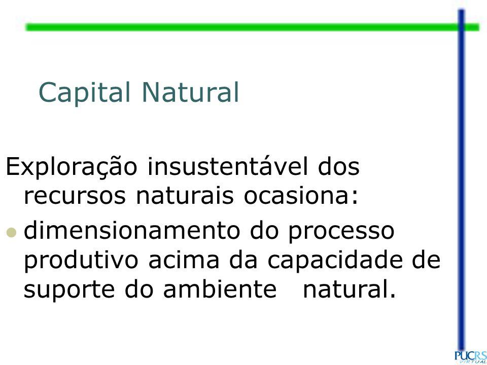 Exploração insustentável dos recursos naturais ocasiona: dimensionamento do processo produtivo acima da capacidade de suporte do ambiente natural. Cap