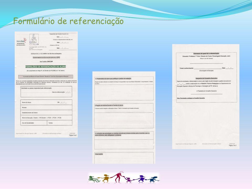 Formulário de Referenciação (próprio do agrupamento) Avaliação Relatório Técnico-Pedagógico de acordo com o Perfil de funcionalidade do aluno. ( Check