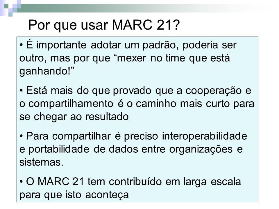 Por que usar MARC 21? É importante adotar um padrão, poderia ser outro, mas por que mexer no time que está ganhando! Está mais do que provado que a co