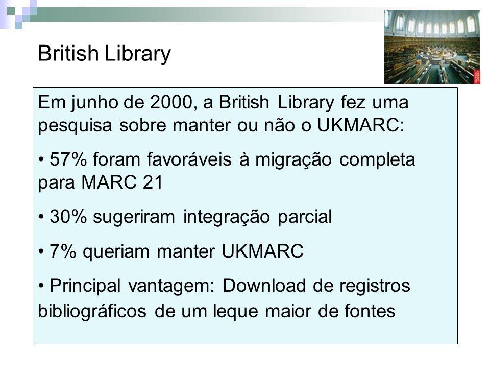 Em junho de 2000, a British Library fez uma pesquisa sobre manter ou não o UKMARC: 57% foram favoráveis à migração completa para MARC 21 30% sugeriram