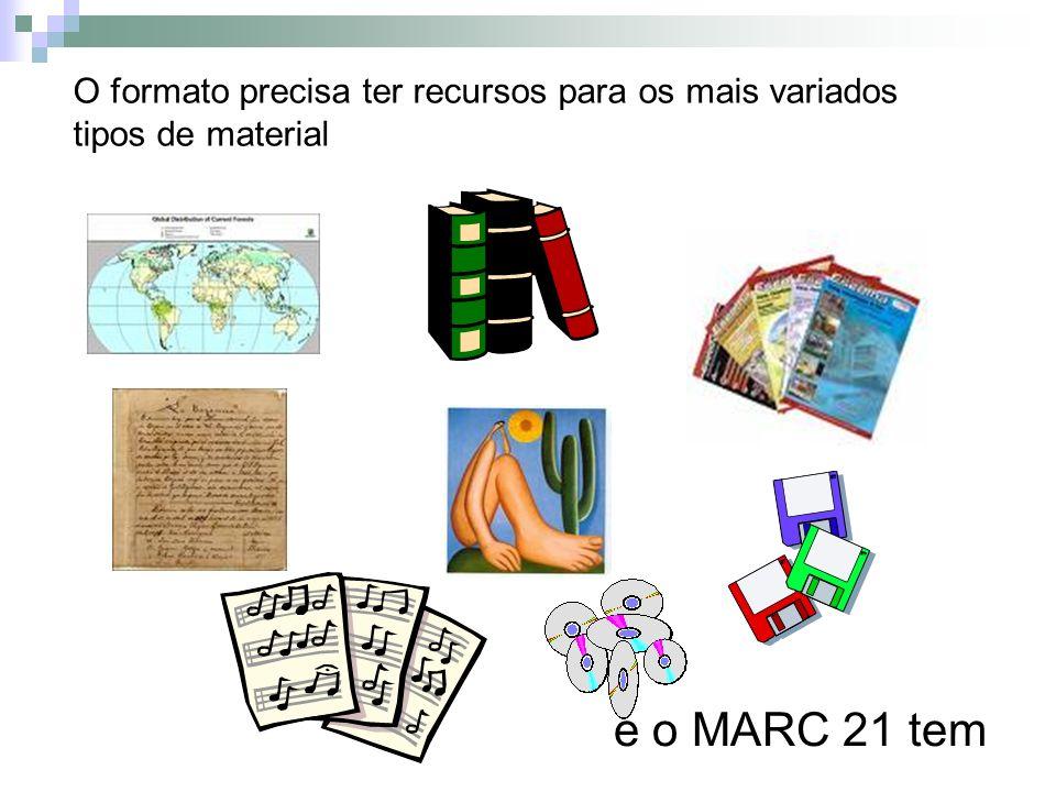 O formato precisa ter recursos para os mais variados tipos de material e o MARC 21 tem