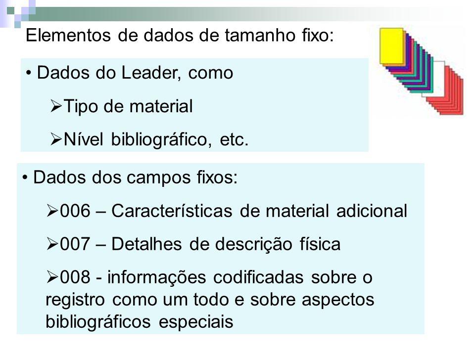 Elementos de dados de tamanho fixo: Dados do Leader, como Tipo de material Nível bibliográfico, etc. Dados dos campos fixos: 006 – Características de