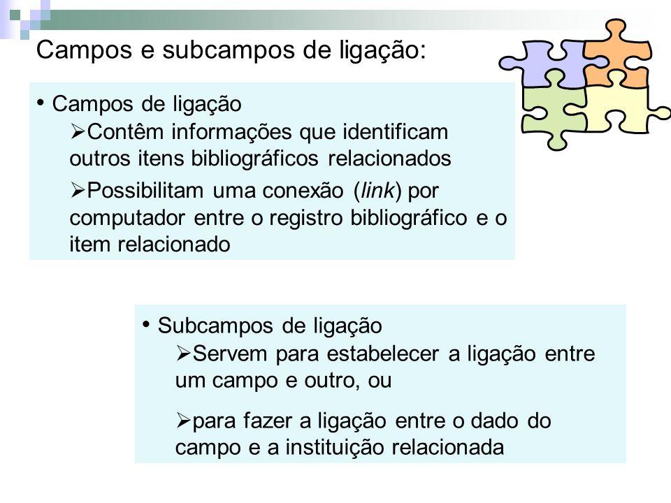 Campos e subcampos de ligação: Campos de ligação Contêm informações que identificam outros itens bibliográficos relacionados Possibilitam uma conexão