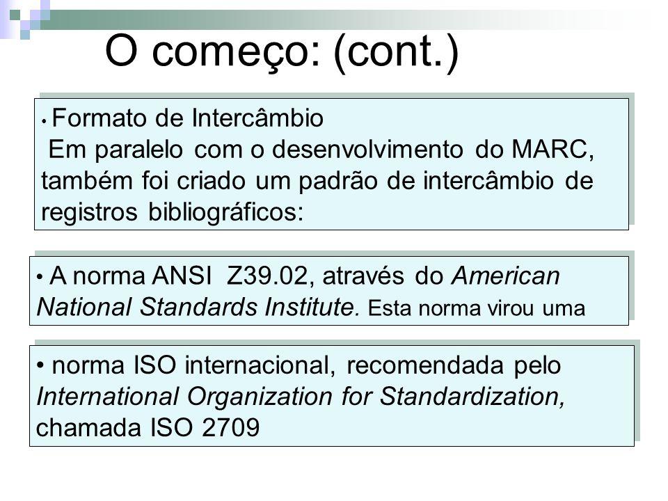 O começo: (cont.) Formato de Intercâmbio Em paralelo com o desenvolvimento do MARC, também foi criado um padrão de intercâmbio de registros bibliográf