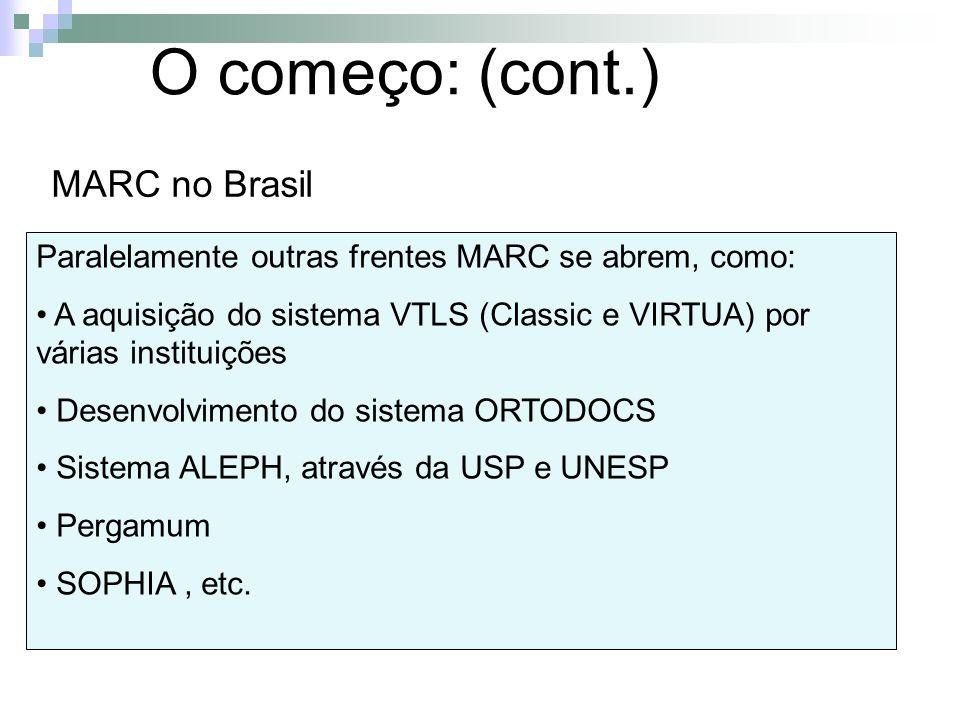O começo: (cont.) MARC no Brasil Paralelamente outras frentes MARC se abrem, como: A aquisição do sistema VTLS (Classic e VIRTUA) por várias instituiç