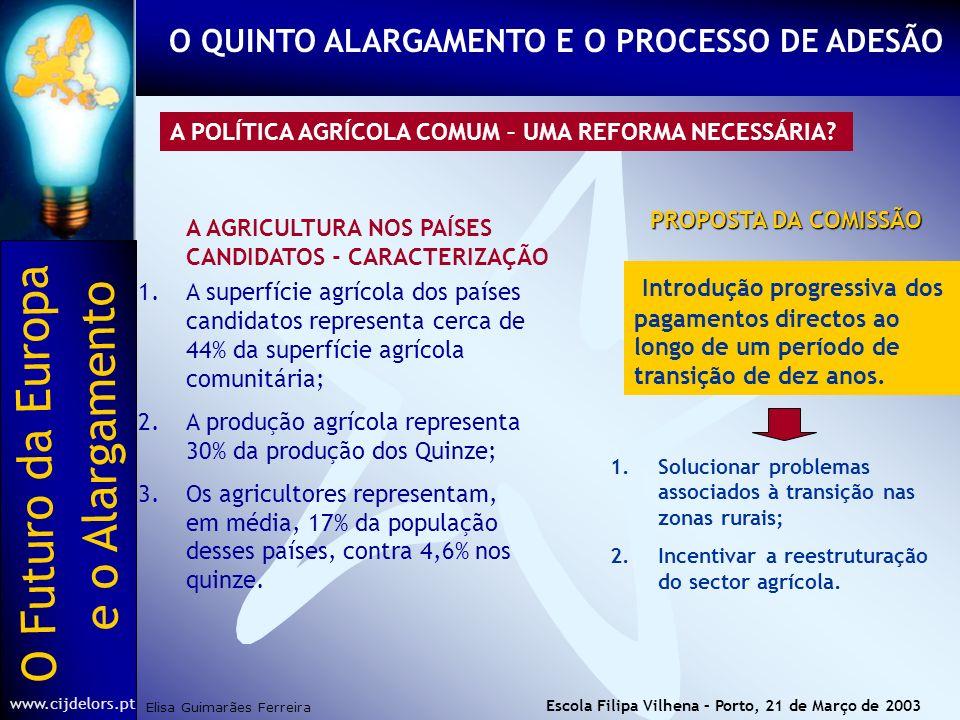 O Futuro da Europa Elisa Guimarães Ferreira e o Alargamento www.cijdelors.pt Escola Filipa Vilhena – Porto, 21 de Março de 2003 A POLÍTICA AGRÍCOLA COMUM – UMA REFORMA NECESSÁRIA.