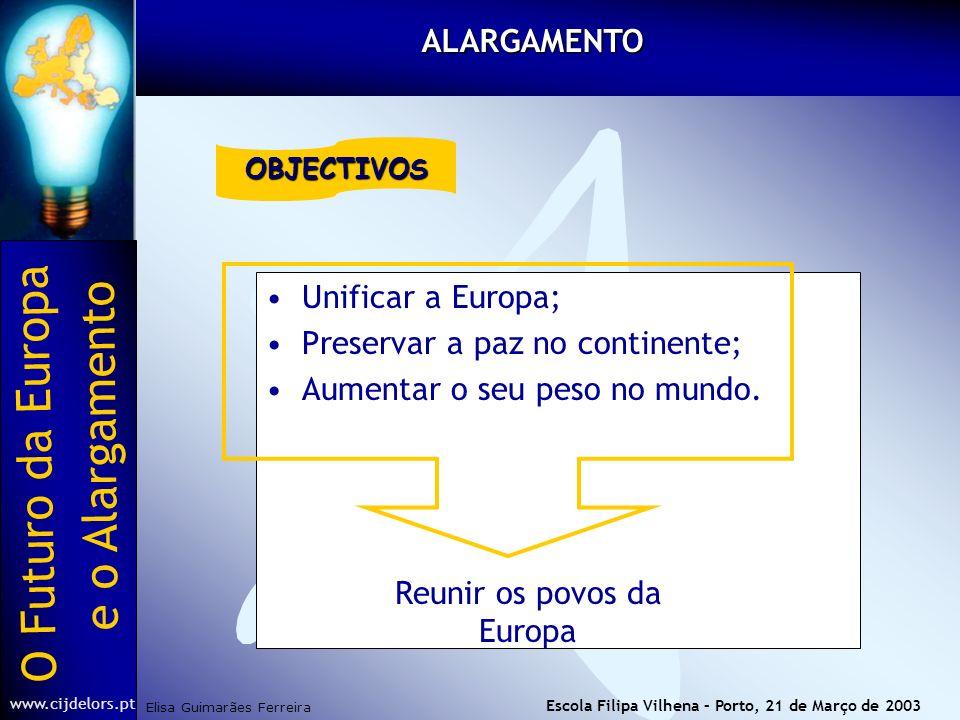 O Futuro da Europa Elisa Guimarães Ferreira e o Alargamento www.cijdelors.pt Escola Filipa Vilhena – Porto, 21 de Março de 2003 Unificar a Europa; Preservar a paz no continente; Aumentar o seu peso no mundo.