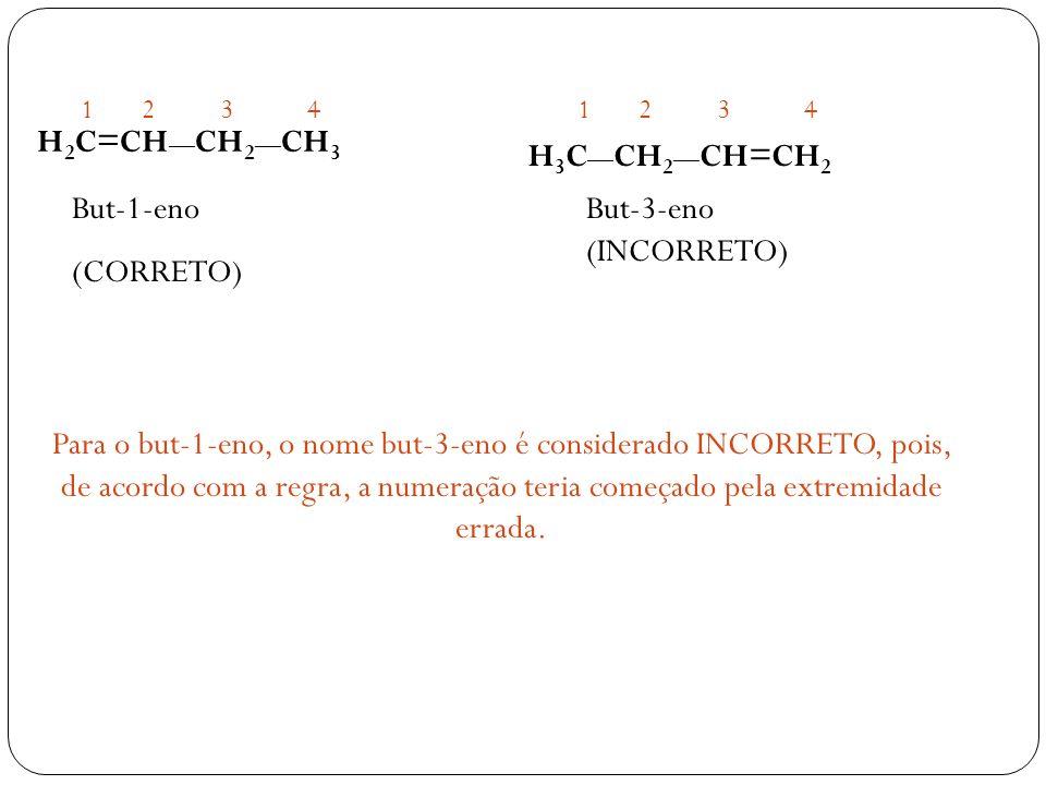 H 2 C=CH CH 2 CH 3 H 3 C CH 2 CH=CH 2 1234 But-1-eno (CORRETO) Para o but-1-eno, o nome but-3-eno é considerado INCORRETO, pois, de acordo com a regra