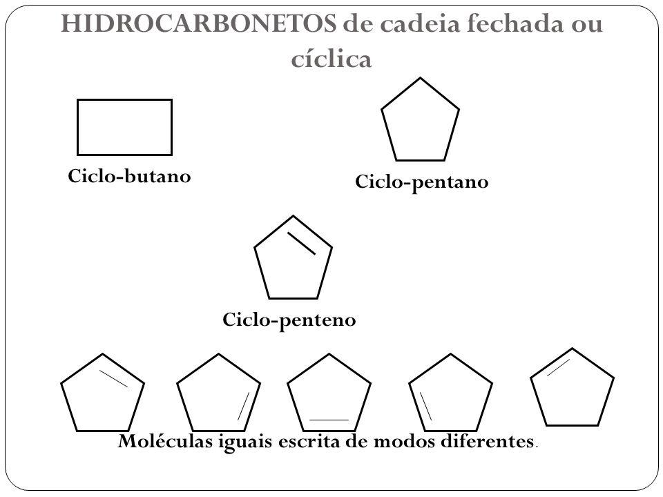 HIDROCARBONETOS de cadeia fechada ou cíclica Ciclo-butano Ciclo-pentano Ciclo-penteno Moléculas iguais escrita de modos diferentes.