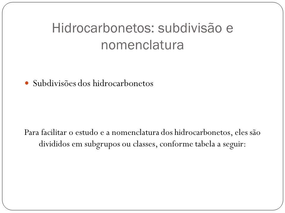 Hidrocarbonetos: subdivisão e nomenclatura Subdivisões dos hidrocarbonetos Para facilitar o estudo e a nomenclatura dos hidrocarbonetos, eles são divi