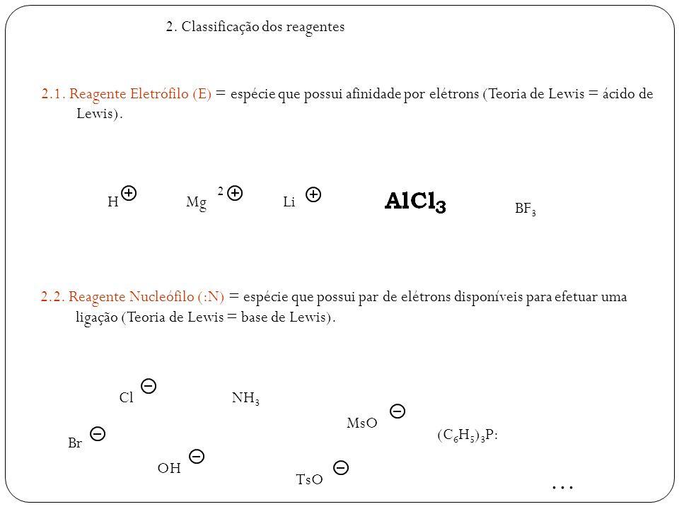 2. Classificação dos reagentes 2.1. Reagente Eletrófilo (E) = espécie que possui afinidade por elétrons (Teoria de Lewis = ácido de Lewis). 2.2. Reage