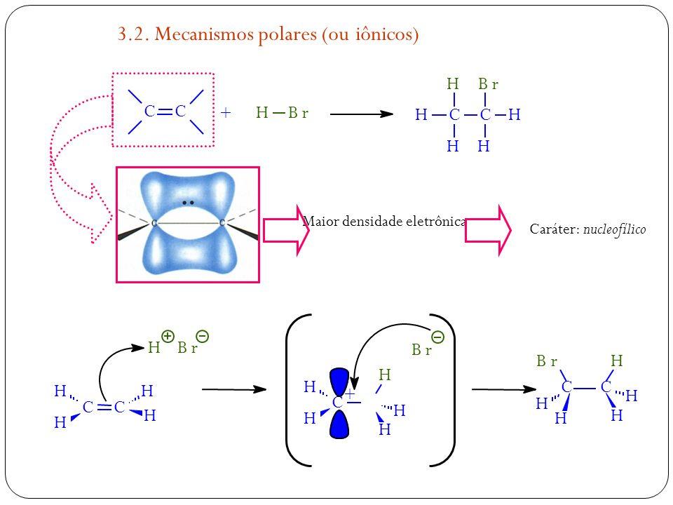CH H H C Br H H CC HBr + HBr H H H H Br + C H H H H H CC H H HH HBr CC Maior densidade eletrônica Caráter: nucleofílico 3.2. Mecanismos polares (ou iô