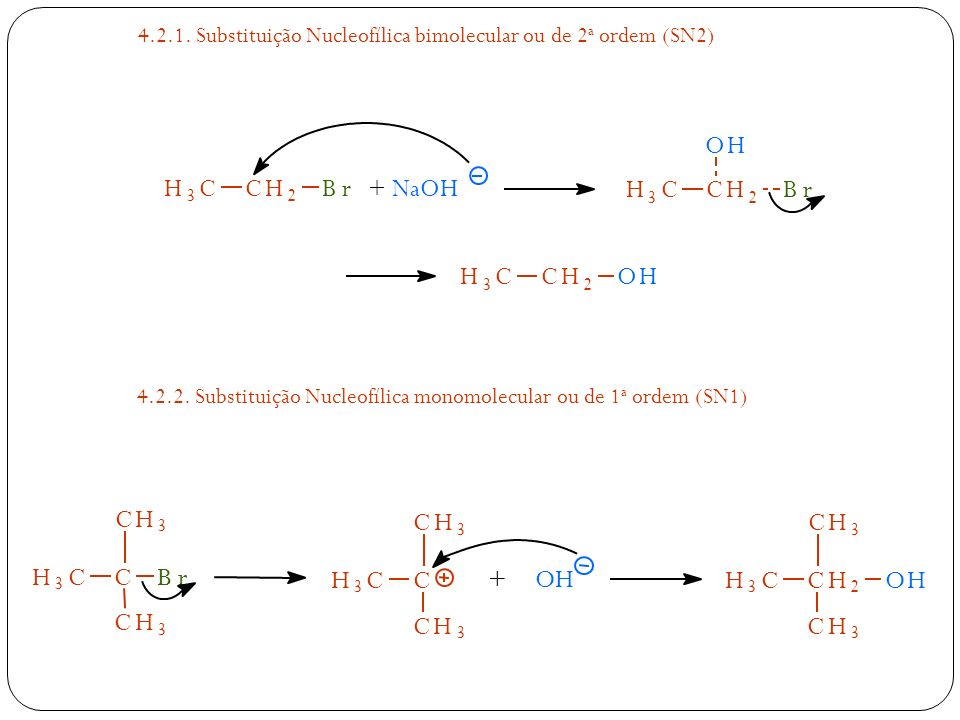 4.2.1. Substituição Nucleofílica bimolecular ou de 2 a ordem (SN2) H 3 CCH 2 Br NaOH+ H 3 CCH 2 OH H 3 CCH 2 Br OH 4.2.2. Substituição Nucleofílica mo