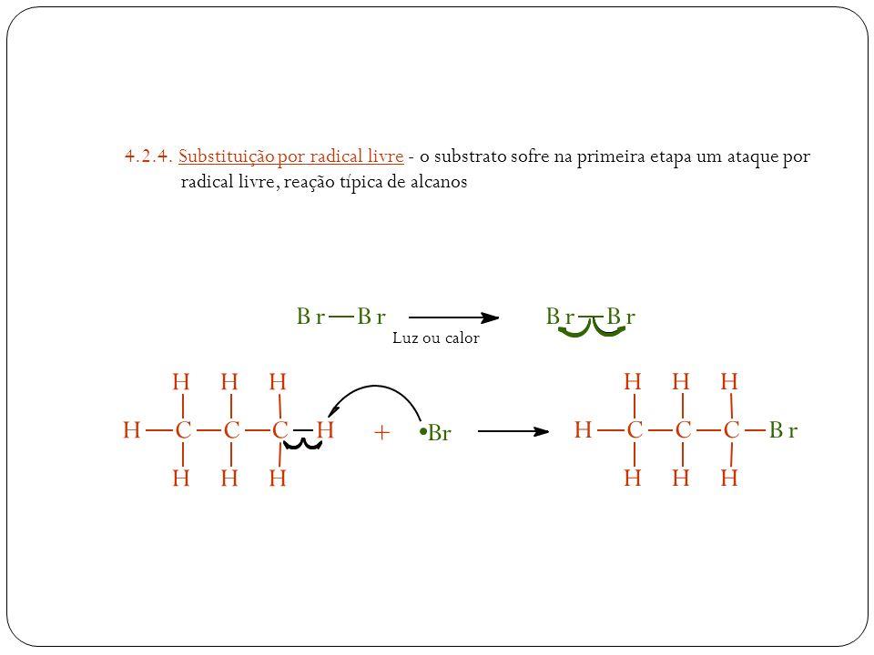 4.2.4. Substituição por radical livre - o substrato sofre na primeira etapa um ataque por radical livre, reação típica de alcanos HCCCH H HH HH H + Br