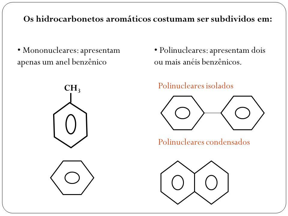 CH 3 Os hidrocarbonetos aromáticos costumam ser subdividos em: Mononucleares: apresentam apenas um anel benzênico Polinucleares: apresentam dois ou ma