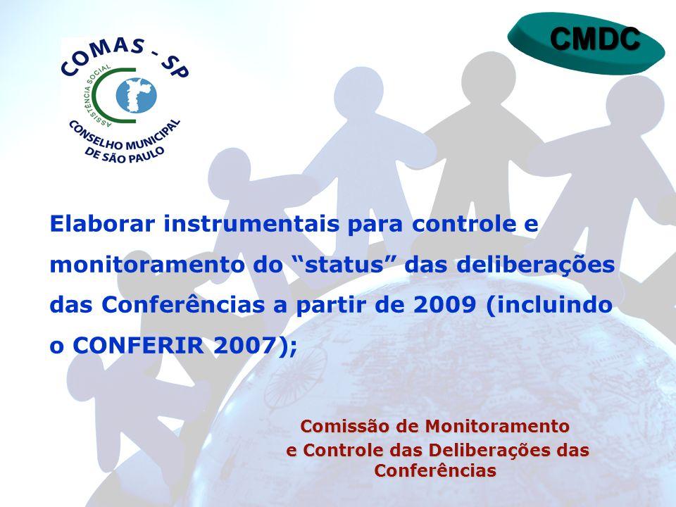 CMDC Elaborar instrumentais para controle e monitoramento do status das deliberações das Conferências a partir de 2009 (incluindo o CONFERIR 2007); Co