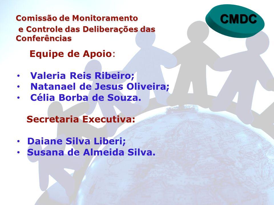 Equipe de Apoio: Valeria Reis Ribeiro; Natanael de Jesus Oliveira; Célia Borba de Souza. Secretaria Executiva: Daiane Silva Liberi; Susana de Almeida