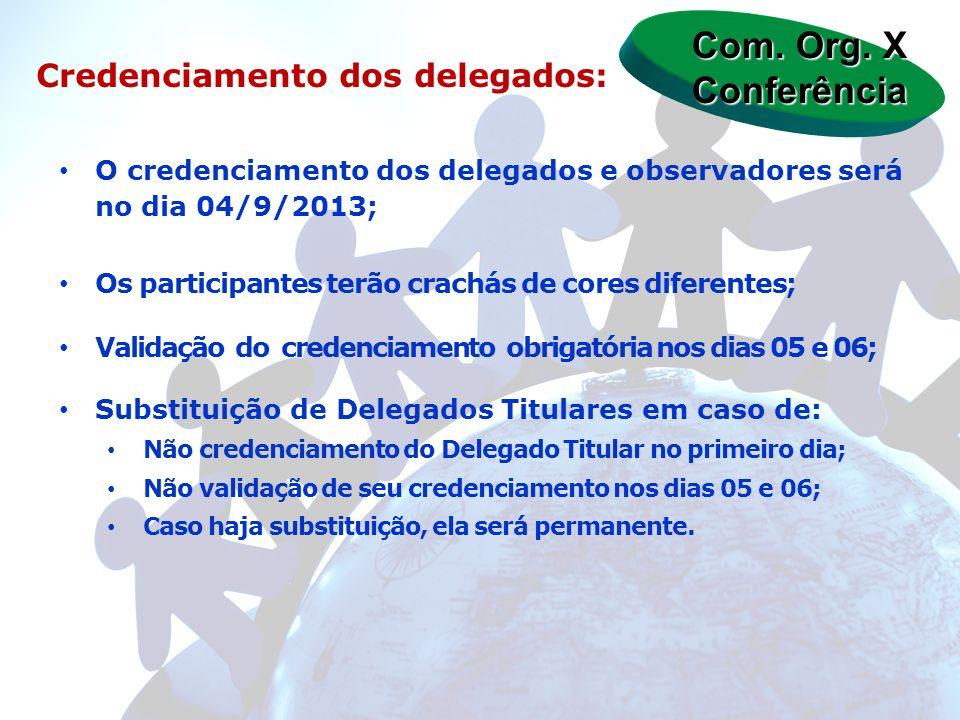 Com. Org. X Conferência Credenciamento dos delegados: O credenciamento dos delegados e observadores será no dia 04/9/2013; Os participantes terão crac