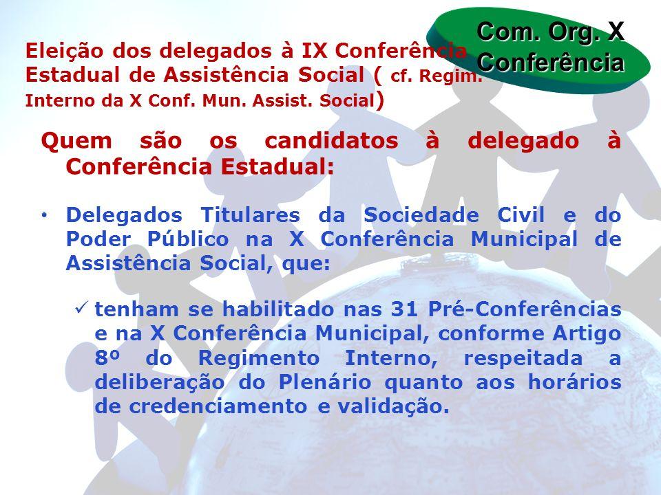 Quem são os candidatos à delegado à Conferência Estadual: Delegados Titulares da Sociedade Civil e do Poder Público na X Conferência Municipal de Assi