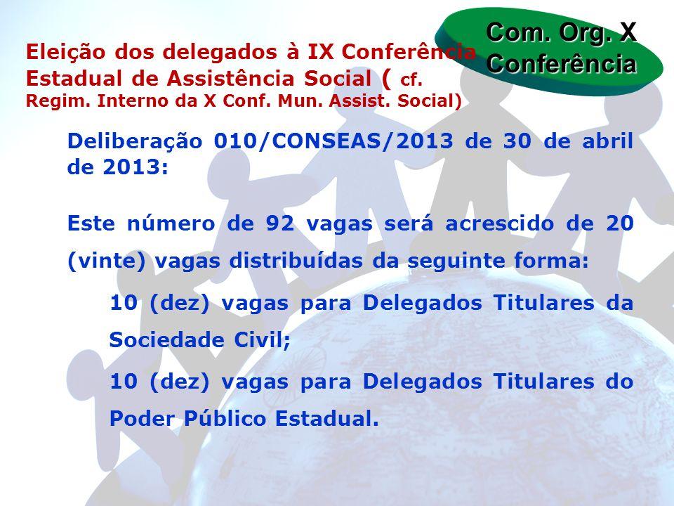 Deliberação 010/CONSEAS/2013 de 30 de abril de 2013: Este número de 92 vagas será acrescido de 20 (vinte) vagas distribuídas da seguinte forma: 10 (de