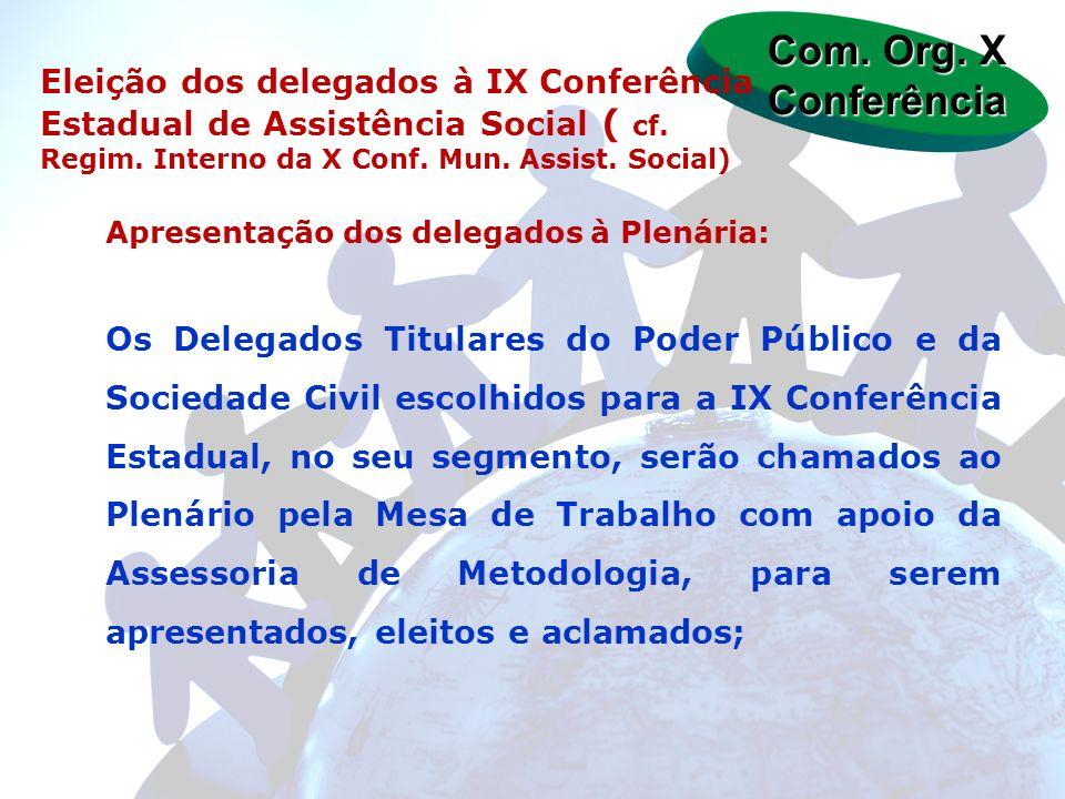 Apresentação dos delegados à Plenária: Os Delegados Titulares do Poder Público e da Sociedade Civil escolhidos para a IX Conferência Estadual, no seu