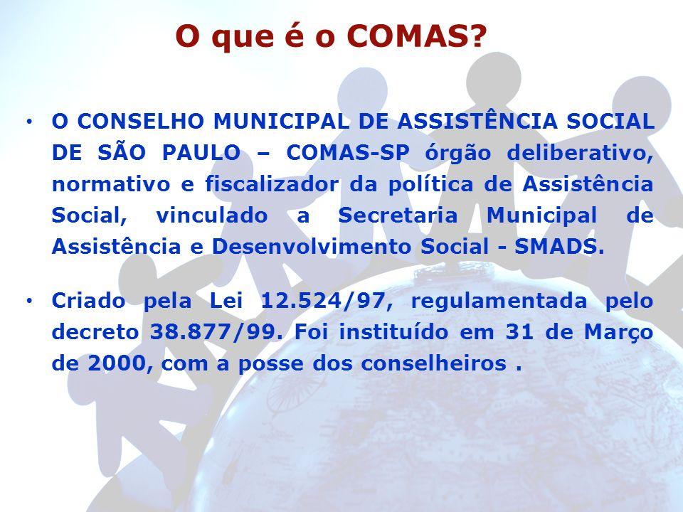 O que é o COMAS? O CONSELHO MUNICIPAL DE ASSISTÊNCIA SOCIAL DE SÃO PAULO – COMAS-SP órgão deliberativo, normativo e fiscalizador da política de Assist