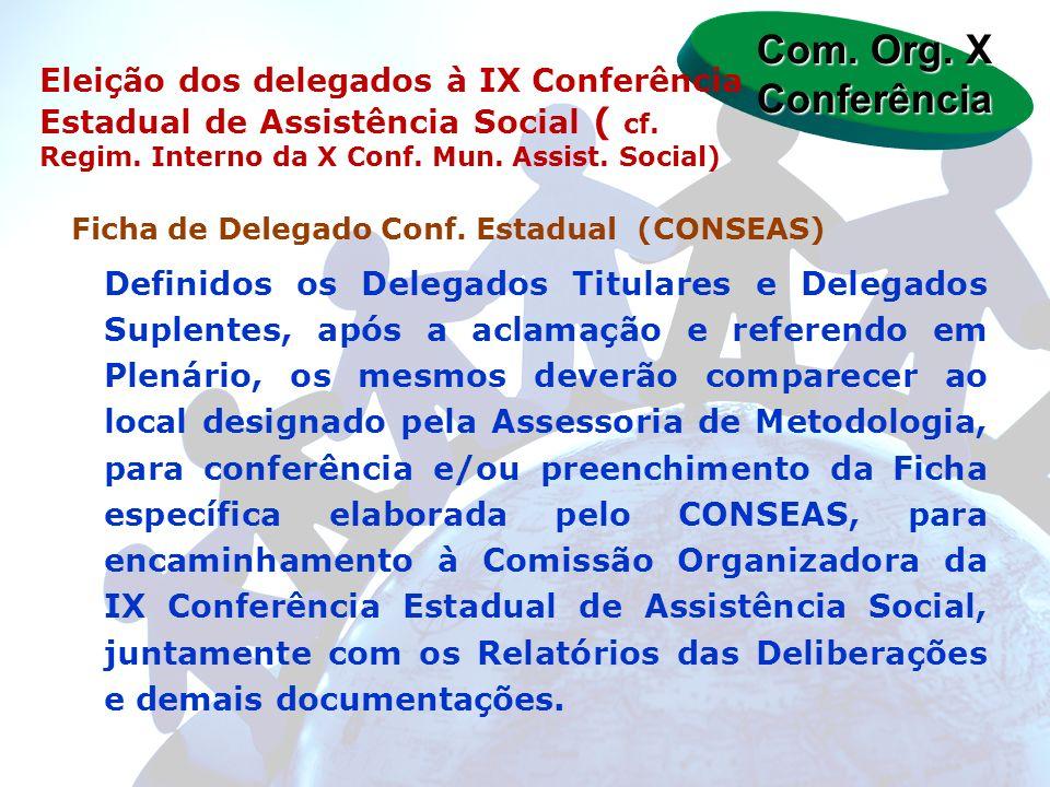 Ficha de Delegado Conf. Estadual (CONSEAS) Definidos os Delegados Titulares e Delegados Suplentes, após a aclamação e referendo em Plenário, os mesmos