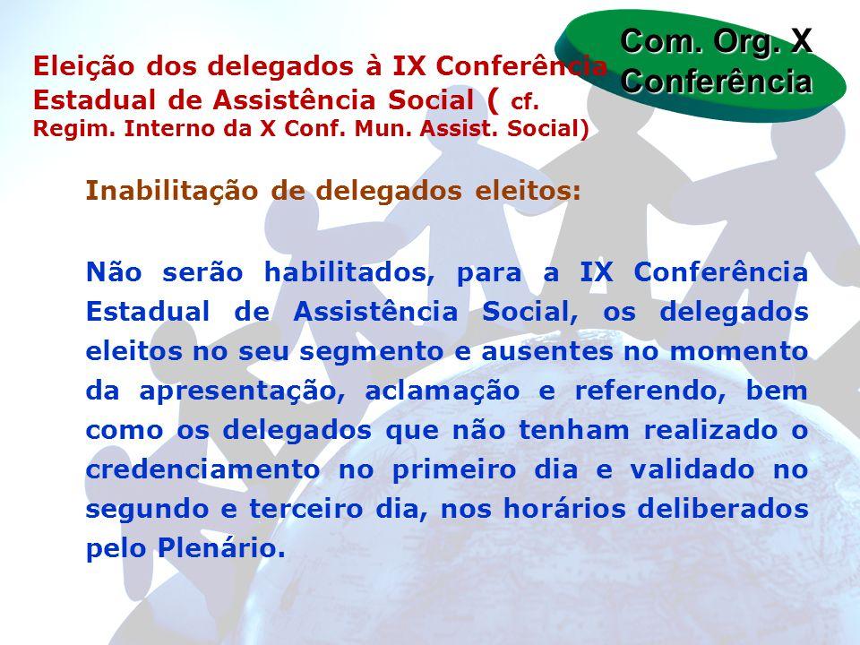 Inabilitação de delegados eleitos: Não serão habilitados, para a IX Conferência Estadual de Assistência Social, os delegados eleitos no seu segmento e
