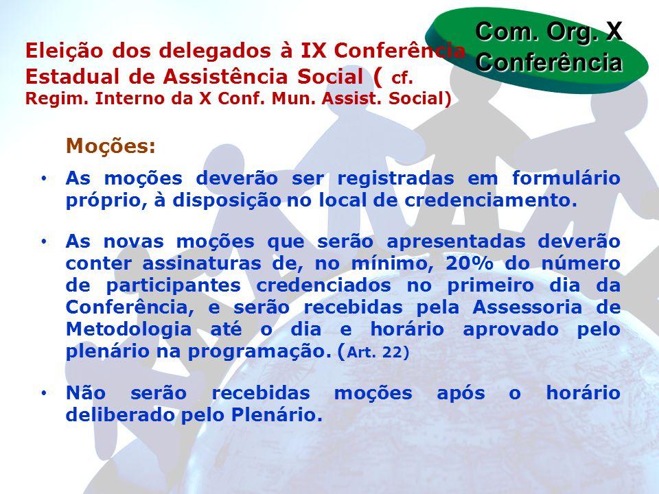 Moções: As moções deverão ser registradas em formulário próprio, à disposição no local de credenciamento. As novas moções que serão apresentadas dever