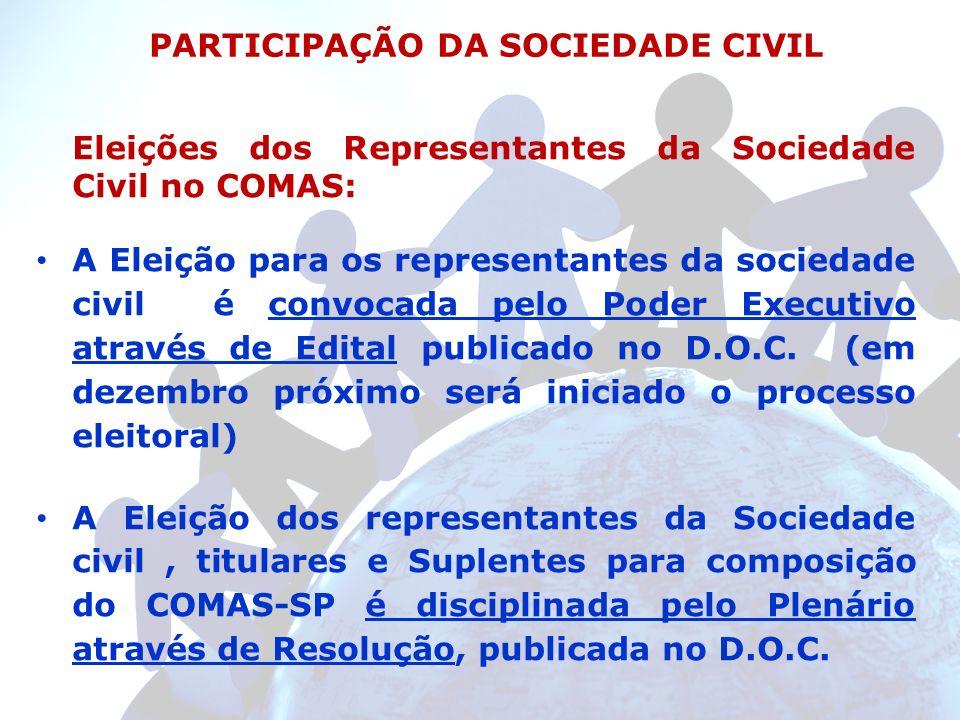 Eleições dos Representantes da Sociedade Civil no COMAS: A Eleição para os representantes da sociedade civil é convocada pelo Poder Executivo através