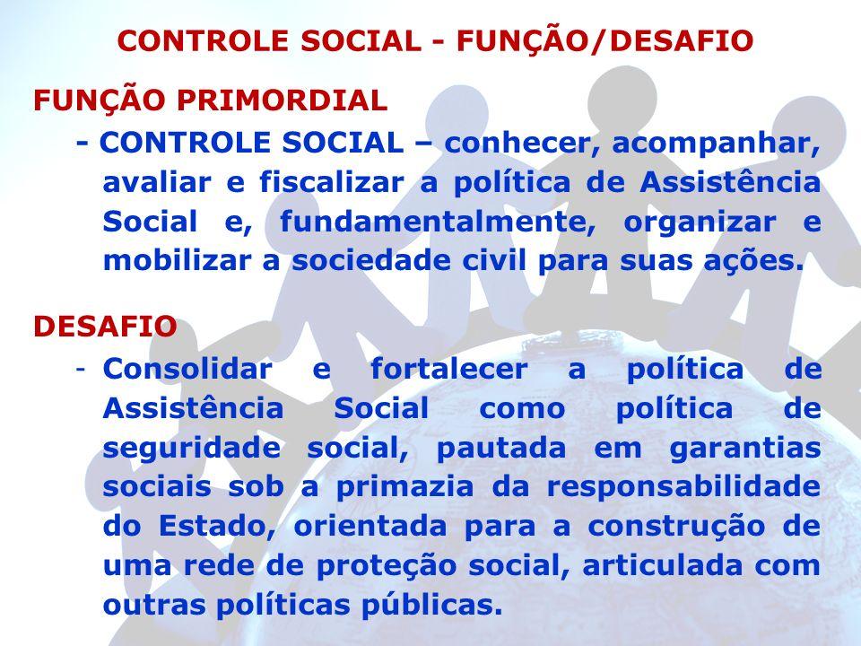 FUNÇÃO PRIMORDIAL - CONTROLE SOCIAL – conhecer, acompanhar, avaliar e fiscalizar a política de Assistência Social e, fundamentalmente, organizar e mob