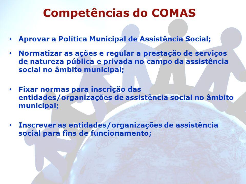 Competências do COMAS Aprovar a Política Municipal de Assistência Social; Normatizar as ações e regular a prestação de serviços de natureza pública e