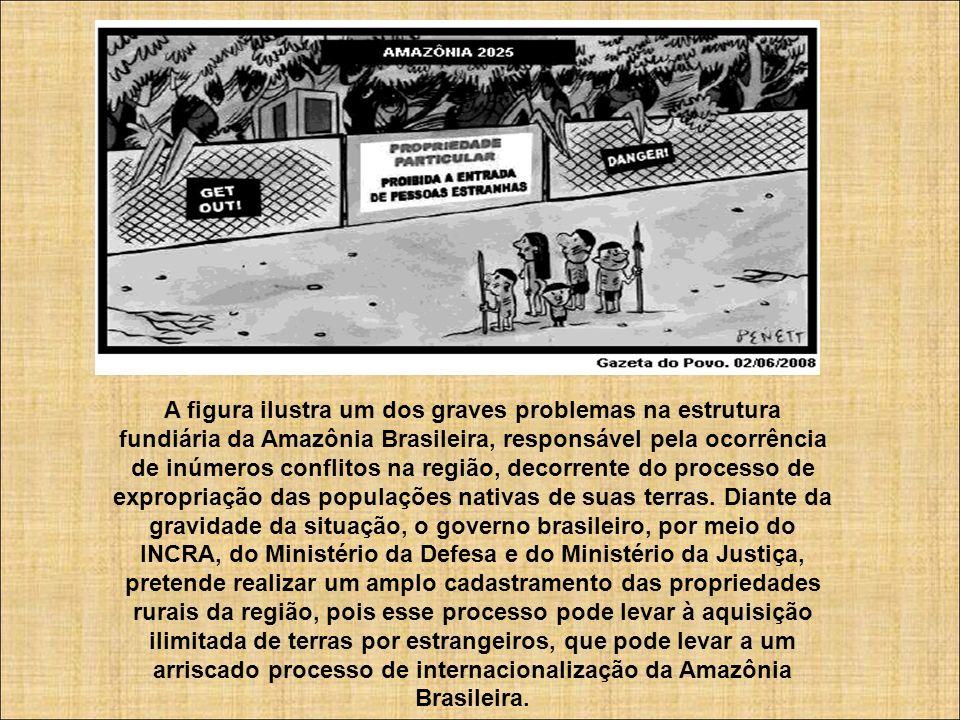 A figura ilustra um dos graves problemas na estrutura fundiária da Amazônia Brasileira, responsável pela ocorrência de inúmeros conflitos na região, d