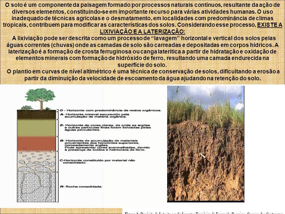 O solo é um componente da paisagem formado por processos naturais contínuos, resultante da ação de diversos elementos, constituindo-se em importante r