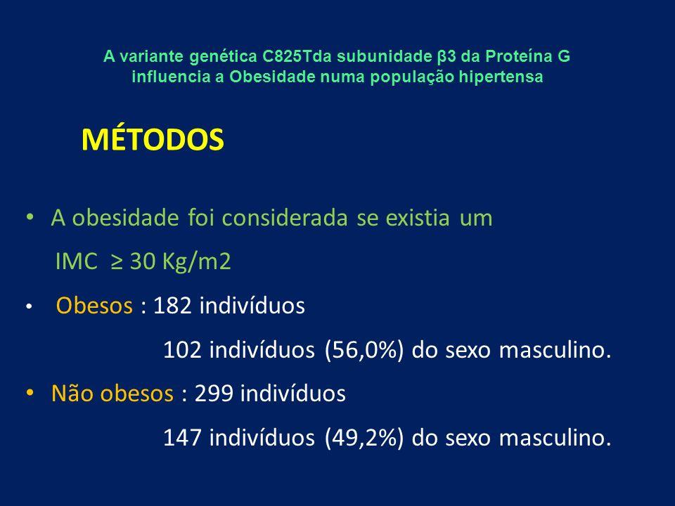A obesidade foi considerada se existia um IMC 30 Kg/m2 Obesos : 182 indivíduos 102 indivíduos (56,0%) do sexo masculino.