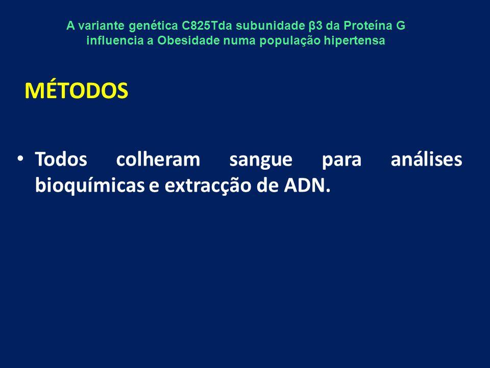 Avaliámos, os genótipos CC,CT e TT da subunidade β3 da Proteína G em ambos os grupos.