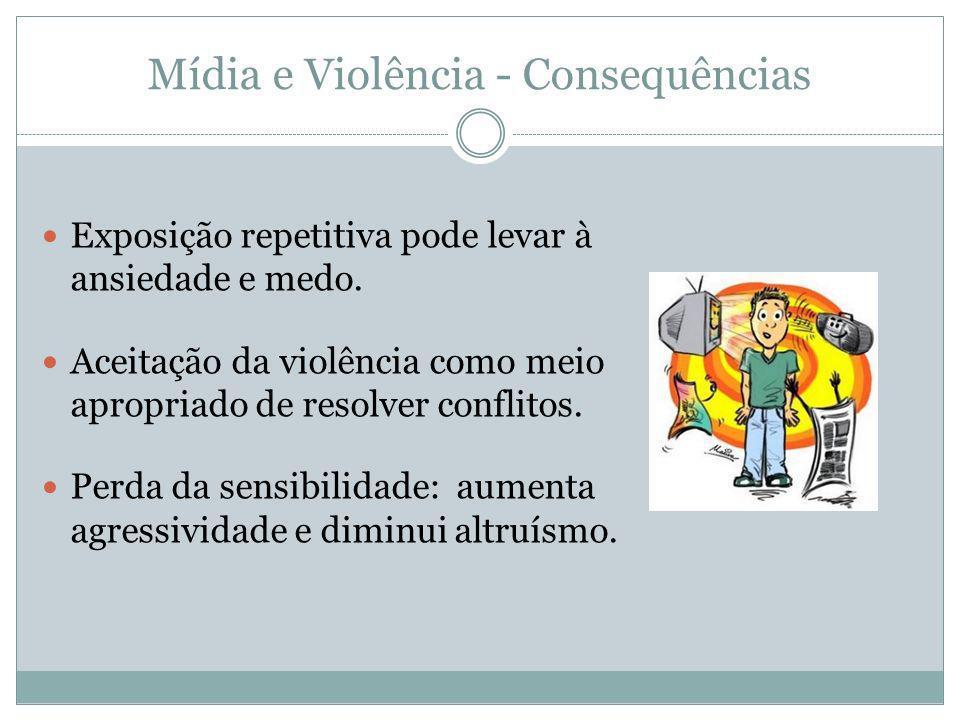 Mídia e Violência - Consequências Exposição repetitiva pode levar à ansiedade e medo. Aceitação da violência como meio apropriado de resolver conflito