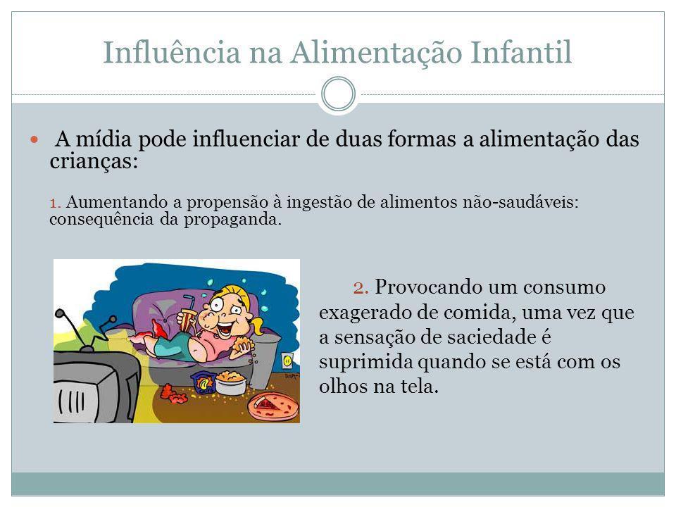 Influência na Alimentação Infantil A mídia pode influenciar de duas formas a alimentação das crianças: 1. Aumentando a propensão à ingestão de aliment