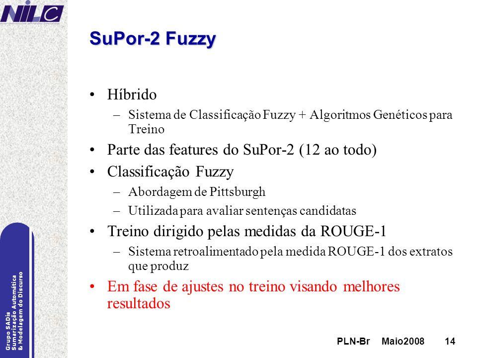 PLN-Br Maio200814 Grupo SADis Sumarização Automática & Modelagem do Discurso PLN-Br Maio200814 SuPor-2 Fuzzy Híbrido –Sistema de Classificação Fuzzy +