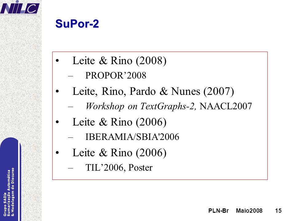 PLN-Br Maio200815 Grupo SADis Sumarização Automática & Modelagem do Discurso PLN-Br Maio200815 SuPor-2 Leite & Rino (2008) –PROPOR2008 Leite, Rino, Pa