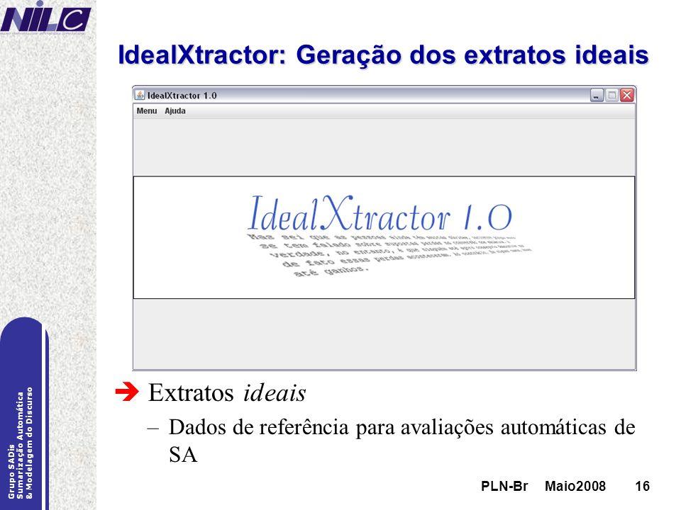 PLN-Br Maio200816 Grupo SADis Sumarização Automática & Modelagem do Discurso PLN-Br Maio200816 IdealXtractor: Geração dos extratos ideais Extratos ide
